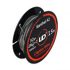 Clapton Wire Kanthal A1- 32GA + 28GA X2 + Ribbon - Youde (UD) Fil résistif Fil non résistif / Fibre et Coton