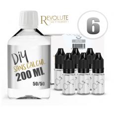 Pack E-Liquide DIY 200 ml 6 mg/ml 50/50 - REVOLUTE Bases pour faire son e-liquide de cigarette électronique