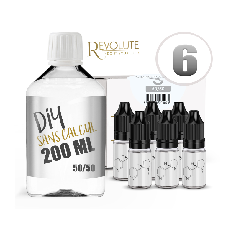KIT 200 ml - 6 mg/ml nicotine avec booster-  DIY  -  50 % PG 50 % VG - REVOLUTE - TPD-READY
