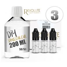 Pack E-Liquide DIY 200 ml 3 mg/ml 50/50 - REVOLUTE Bases pour faire son e-liquide de cigarette électronique