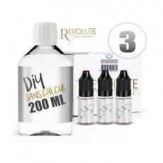Pack E-Liquide DIY 200 ml 3 mg/ml VG - REVOLUTE Bases pour faire son e-liquide de cigarette électronique