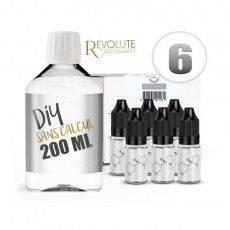 Pack E-Liquide DIY 200 ml 6 mg/ml VG - REVOLUTE  Bases pour faire son e-liquide de cigarette électronique